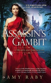 book cover, beautiful dark-haired woman in a red dress holding a dagger with a castle behind her